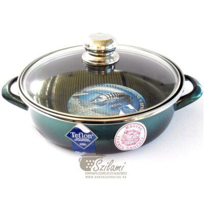 Sütőtál üvegfedővel füles teflonos 28 cm<br/> Platinum Ema-Lion bonyhád