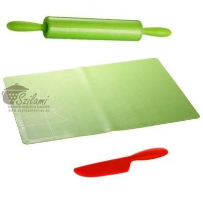 Csomagajánlat !<br/>Nyújtótábla szilikonos + Szilikonos sodrófa-nyújtófa + szilikon kés