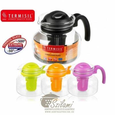 Teáskanna hőálló üveg szűrőbetéttel mikrózható 1 liter Termisil