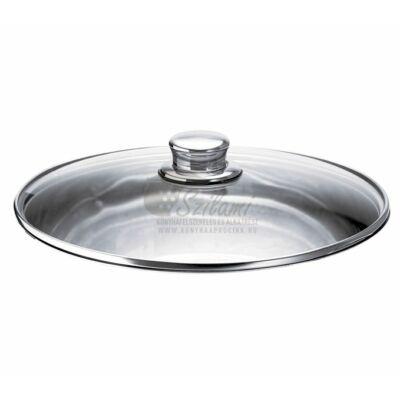 Üveg fedő rozsdamentes gombbal 28 cm<br/> Ema-Lion Bonyhád
