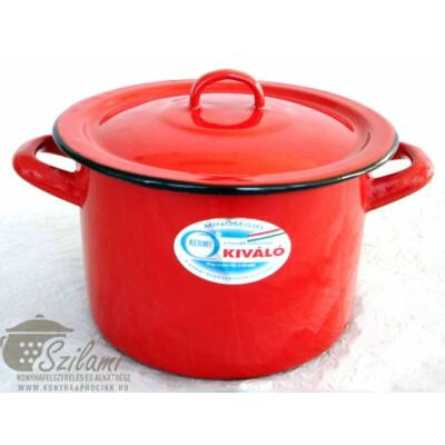 Zománcozott fazék fedővel 22 cm (5,5 literes) <br/>hagyományos piros Ema-Lion Bonyhád