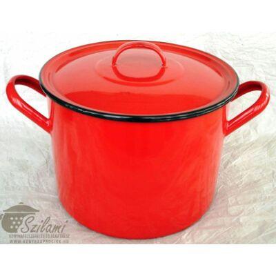 Zománcozott fazék fedővel 28 cm (12 literes) <br/>hagyományos piros Ema-Lion Bonyhád